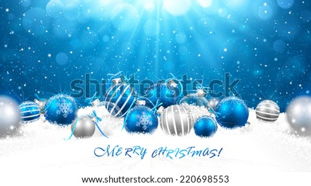 Christmas balls in snow - stock vector