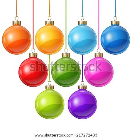 Christmas balls isolated on white for design. - stock vector