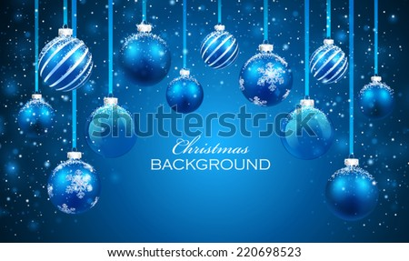 Christmas balls on blue background - stock vector