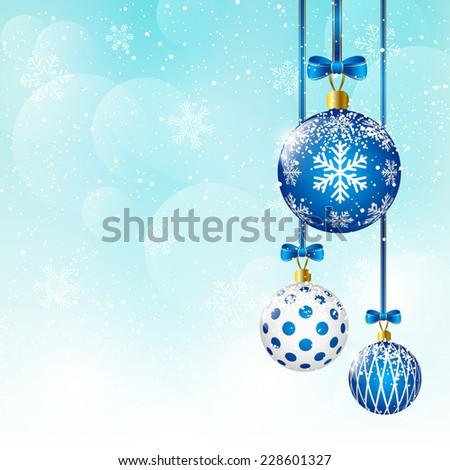Christmas balls on blue sky background - stock vector