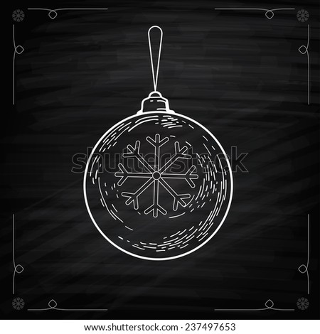 Christmas balls on Chalkboard. Hand drawn illustration for Xmas design decorations. Simple Vector illustration. Engraving Style - stock vector