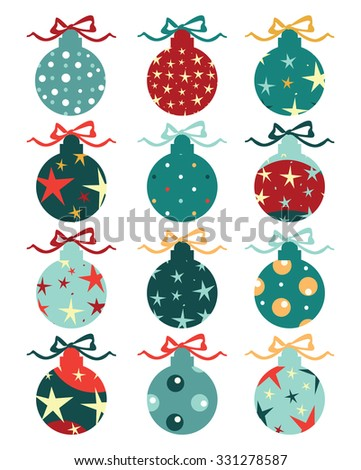 Christmas balls on gift bows isolated on white. Set. Vector illustration. - stock vector
