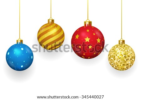 Christmas balls on white background. Xmas and ornament, winter season, sphere shiny, vector illustration - stock vector