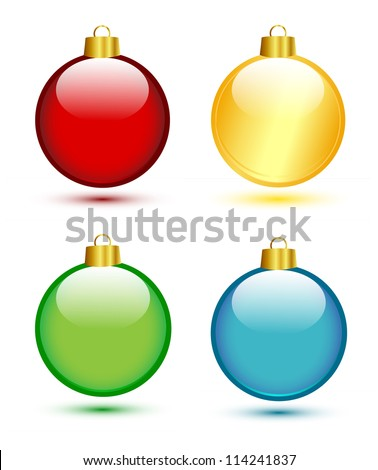 Christmas balls on white (red,gold,green,blue) - stock vector