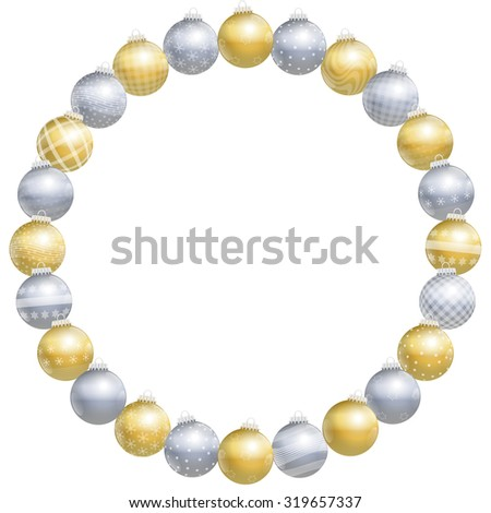 Christmas balls, round frame, gold, silver, different ornaments and patterns, twenty-four items - isolated vector illustration on white background. - stock vector