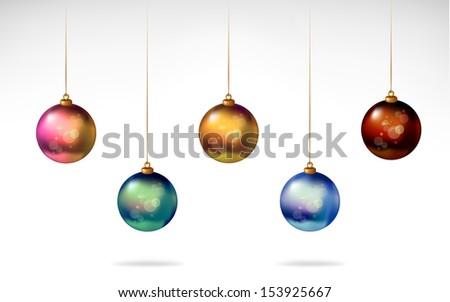 Christmas balls_ shiny glossy colors - stock vector