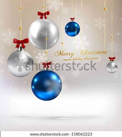 Christmas balls, silver and blue Xmas baubles, vector - stock vector