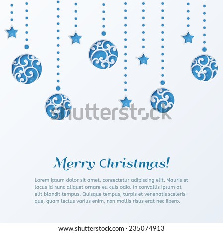 Christmas balls with stars. Christmas Tree Decorations. Design elements for holiday cards. Beautiful applique. Abstract design. Vector illustration. - stock vector