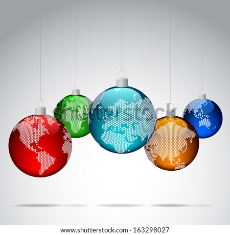 Christmas balls with world dotted maps - Vector eps10 - stock vector