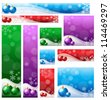 Christmas banner set in various color & size - stock vector