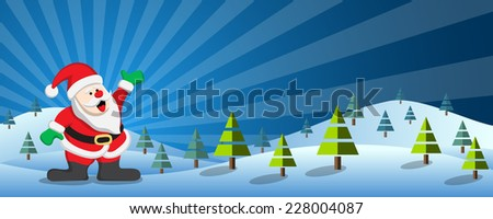 Christmas banner with santa claus in winter landscape - stock vector