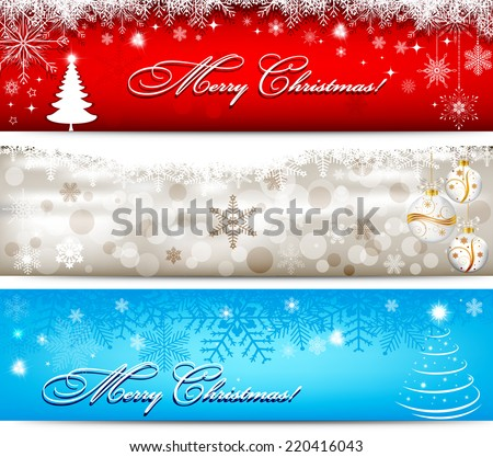 Christmas banner with snowflakes set - stock vector