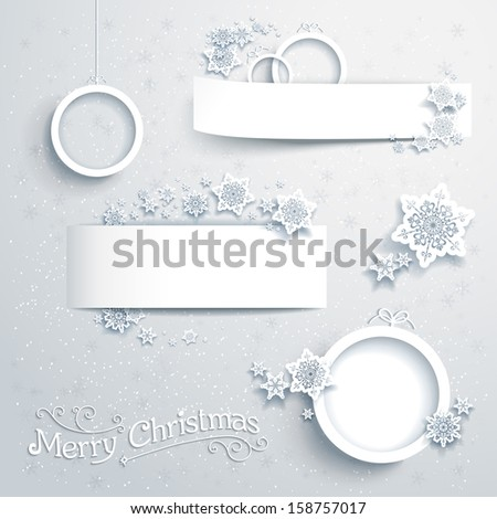 Christmas banners and design elements - stock vector