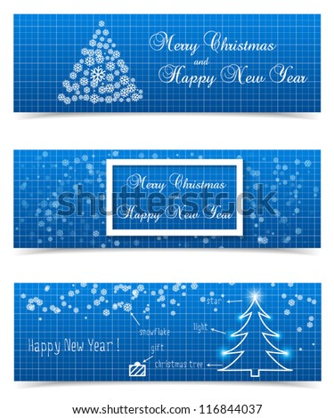 Christmas banners on blueprint background. Vector illustration. - stock vector
