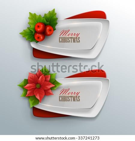 Christmas banners set. Vector illustration.  - stock vector