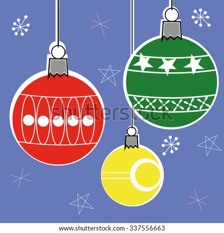 Christmas bauble decorations in a retro style with offset colors hanging i front of a patterned background - stock vector