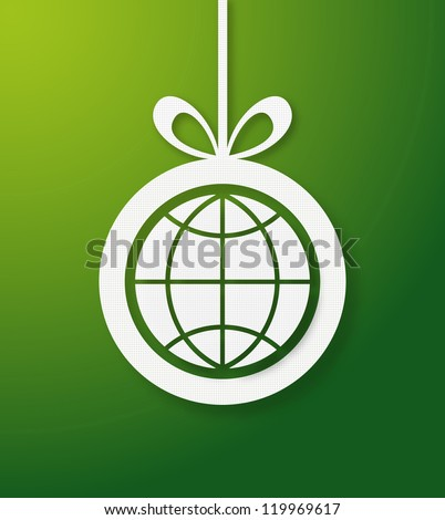 Christmas bauble in green background with world icon. Vector illustration layered for easy manipulation and custom coloring. - stock vector