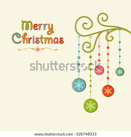 Christmas Bauble Tree Right Align - stock vector