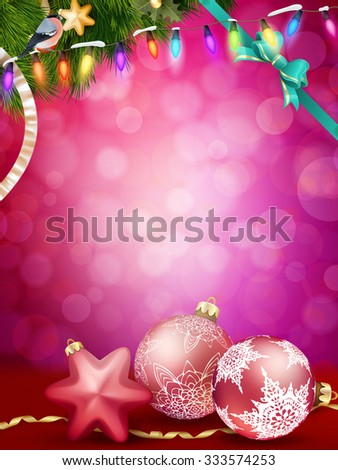 Christmas baubles and ribbon with snow fir tree. EPS 10 vector file included - stock vector