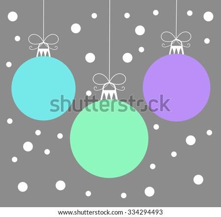Christmas baubles card. Vector illustration - stock vector