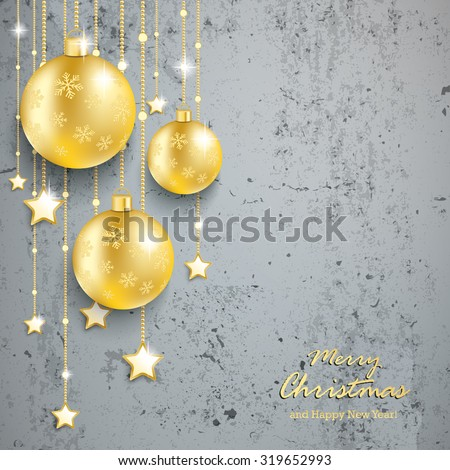 Christmas baubles on the beton. Eps 10 vector file. - stock vector