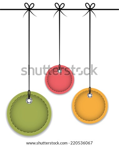 Christmas baubles tied with bows. Colorful leather labels. Vector illustration - stock vector