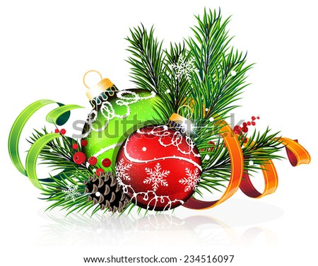 Christmas baubles with ribbon and fir tree branches on white background - stock vector
