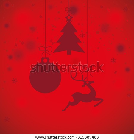 Christmas baubles with snowflakes on the red background. Eps 10 vector file. - stock vector