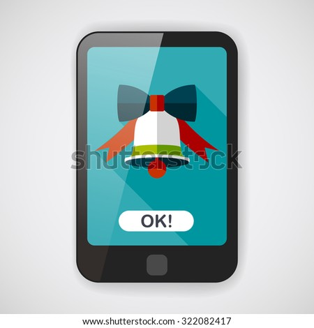Christmas bell flat icon with long shadow,eps10 - stock vector