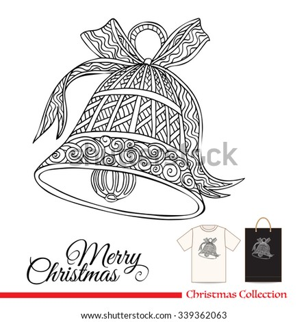 Christmas   bell. T-shirt design or plastic or paper bag design with Christmas decorative elements in zentangle style  - stock vector
