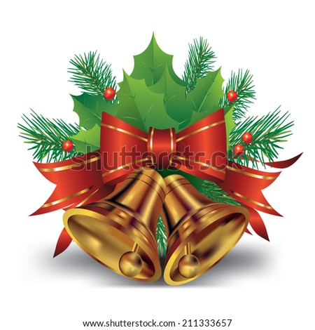 Christmas bell with bow and christmas tree decorations. Vector illustration - stock vector