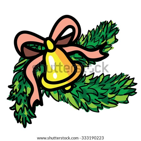 Christmas  bell with ribbon and evergreen or pine trees isolated vector - stock vector
