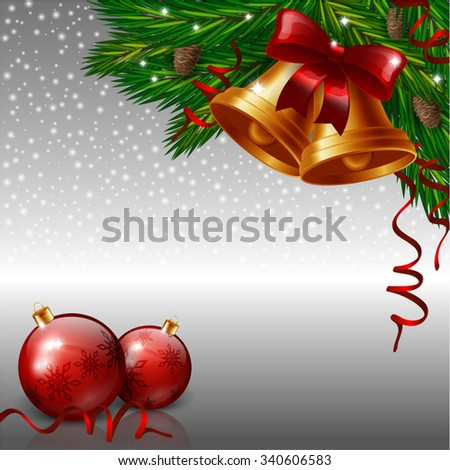 Christmas bells and red baubles - stock vector