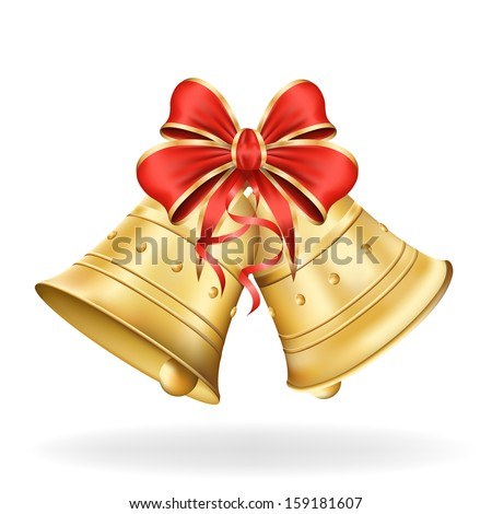 Christmas bells with red bow on white background. Xmas decorations. Vector eps10 illustration - stock vector