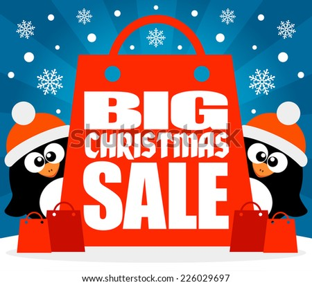 Christmas  Big sale background with funny penguins vector - stock vector