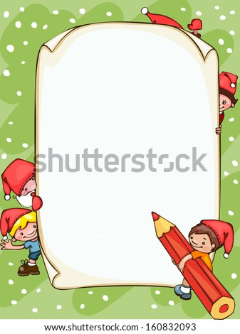 Christmas  blank  with Santa Claus and  kids. Place for text.  - stock vector