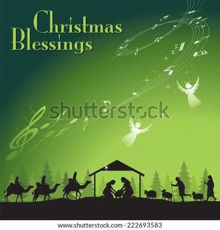 Christmas Blessing. Vector illustration the traditional Christian Christmas Nativity scene. - stock vector