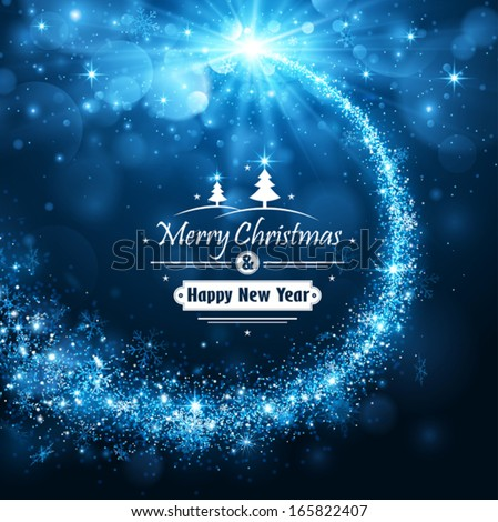 Christmas blue background - stock vector