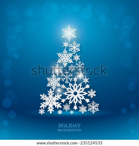 Christmas blue background with Christmas Tree made of paper snowflakes this long shadow. Vector - stock vector