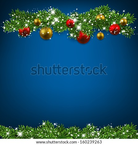Christmas blue background with fir twigs and colorful balls. Vector illustration.  - stock vector