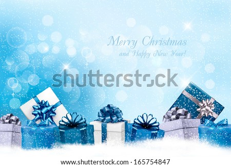 Christmas blue background with gift boxes and snowflakes. Vector - stock vector