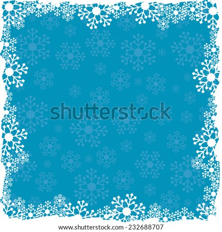 Christmas blue background with snowflakes pattern - stock vector
