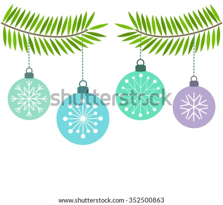 Christmas blue baubles ornaments. Vector illustration - stock vector