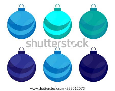 Christmas Blue Bulb , Ball Set Vector - stock vector