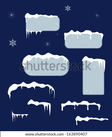 Christmas blue sale stickers and tags with icicles, stars and snowflakes on a dark blue vector background.Snow top. - stock vector