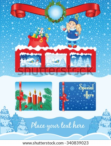 Christmas blue template with little girl - stock vector