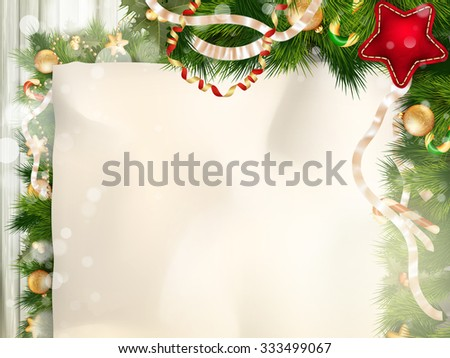Christmas border with old paper. EPS 10 vector file included - stock vector