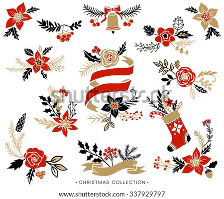 Christmas bouquets, wreaths and floral arrangements. Hand drawn design elements. - stock vector