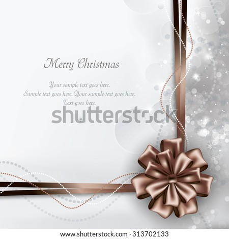 Christmas Bow. Vector Sparkly Background. - stock vector