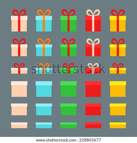 Christmas Boxes for gifts in different colors. Flat design. - stock vector